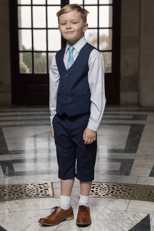 Boys Navy Shorts Suit with Sky Blue Tie - Leo