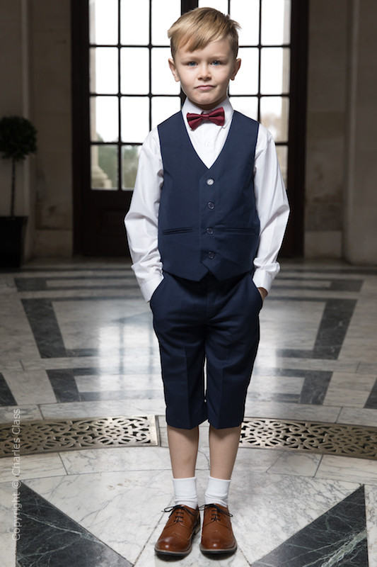 Boys Navy Shorts Suit with Burgundy Dickie Bow - Leo