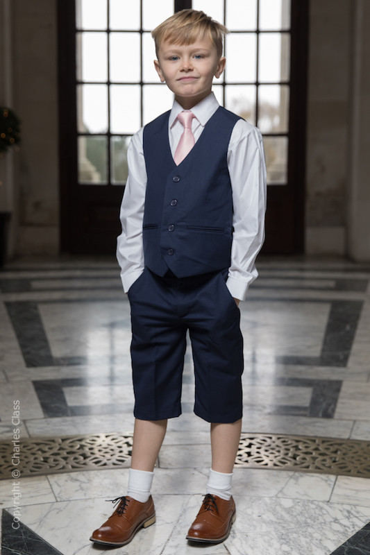 Boys Navy Shorts Suit with Pale Pink Tie - Leo