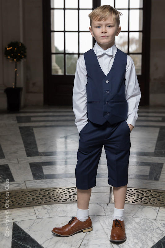 Boys Navy Shorts Suit with White Dickie Bow - Leo