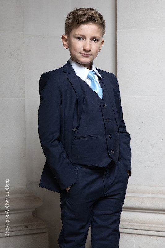 Boys Navy Suit with Sky Blue Tie - Stanley