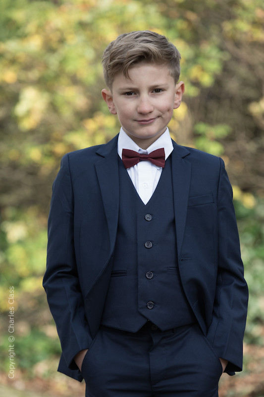 Boys Navy Suit with Burgundy Dickie Bow - Stanley