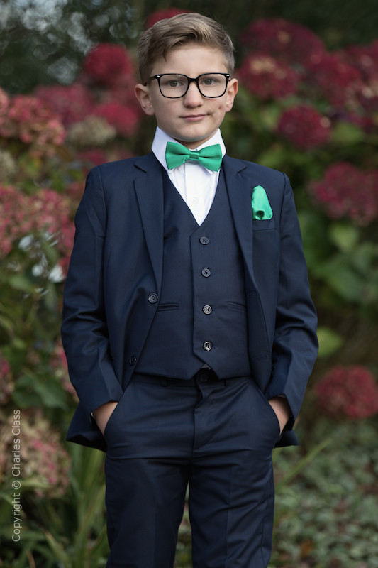 Boys Navy Suit with Emerald Green Bow & Hankie - Stanley