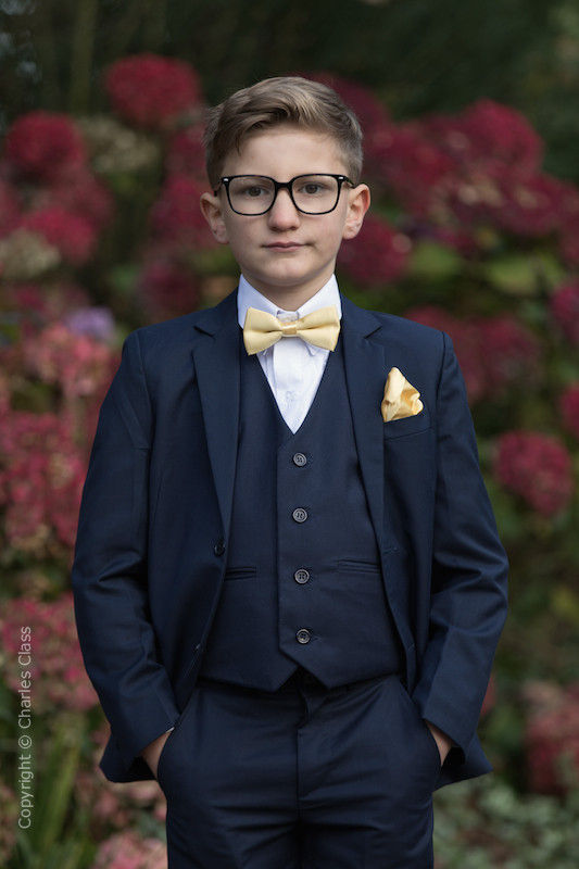 Boys Navy Suit with Gold Bow & Hankie - Stanley