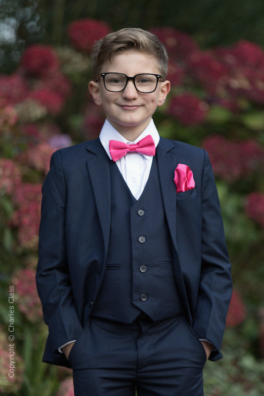 Boys Navy Suit with Hot Pink Bow & Hankie - Stanley