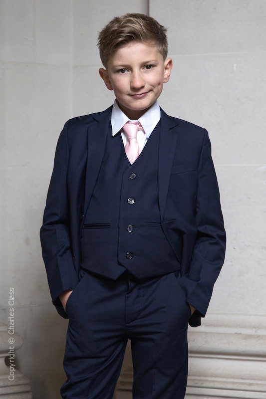 Boys Navy Suit with Pale Pink Tie - Stanley
