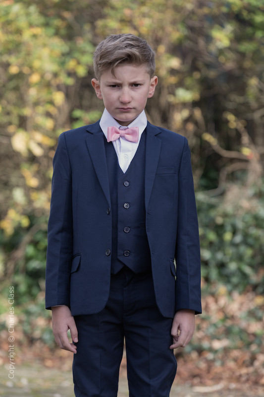 Boys Navy Suit with Baby Pink Dickie Bow - Stanley