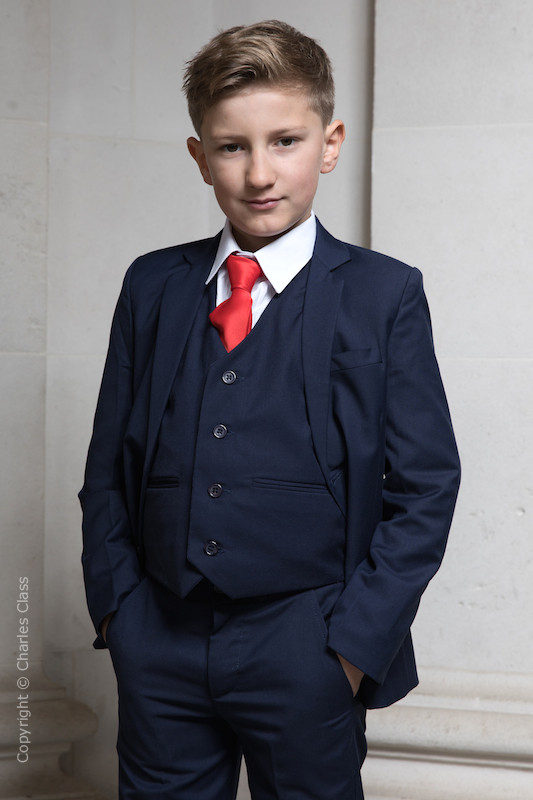 Boys Navy Suit with Red Satin Tie - Stanley