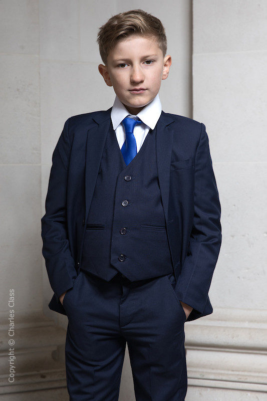 Boys Navy Suit with Royal Blue Tie - Stanley