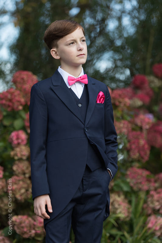 Boys Navy Tail Coat Suit with Hot Pink Dickie Bow Set - Edward