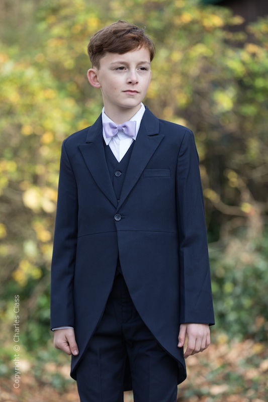 Boys Navy Tail Coat Suit with Lilac Bow Tie - Edward