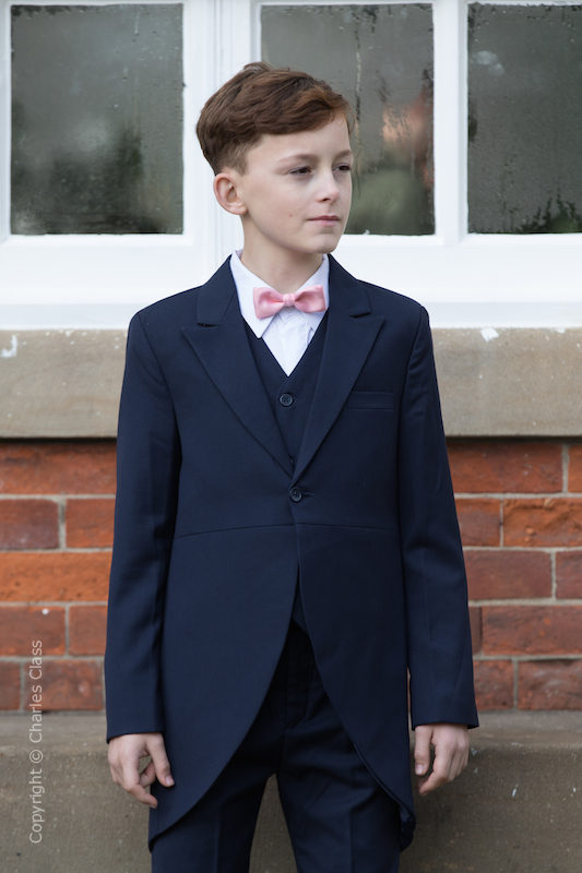 Boys Navy Tail Coat Suit with Baby Pink Bow Tie - Edward
