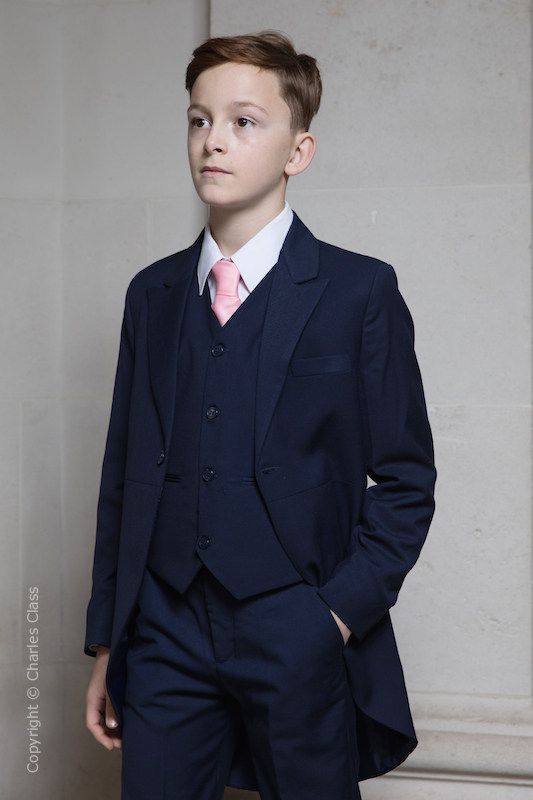 Boys Navy Tail Coat Suit with Baby Pink Tie - Edward