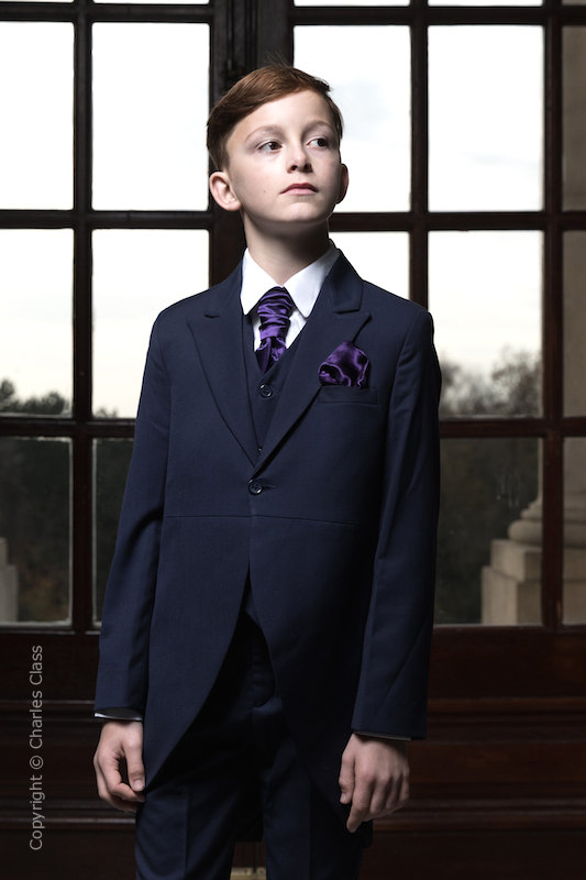 Boys Navy Tail Coat Suit with Purple Cravat Set - Edward
