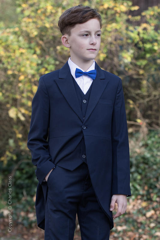 Boys Navy Tail Coat Suit with Royal Bow Tie - Edward