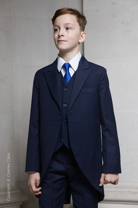 Boys Navy Tail Coat Suit with Royal Blue Tie - Edward