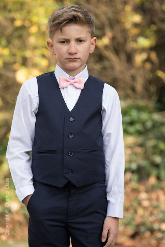 Boys Navy Trouser Suit with Baby Pink Dickie Bow - Joseph
