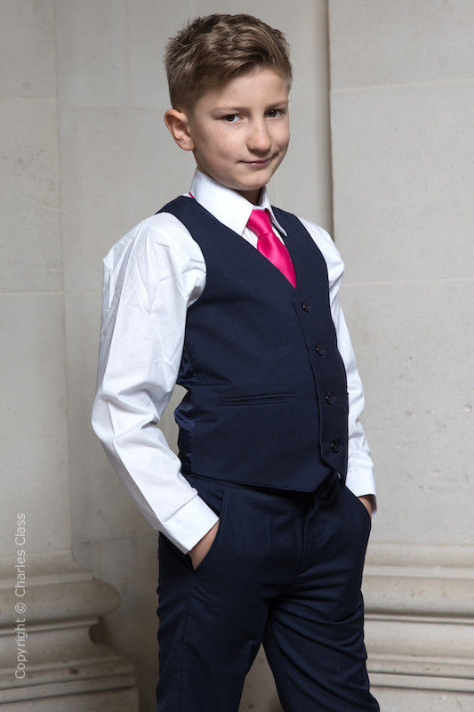 Boys Navy Trouser Suit with Hot Pink Tie - Joseph