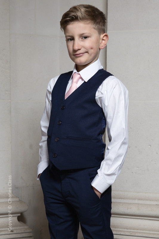 Boys Navy Trouser Suit with Pale Pink Tie - Joseph