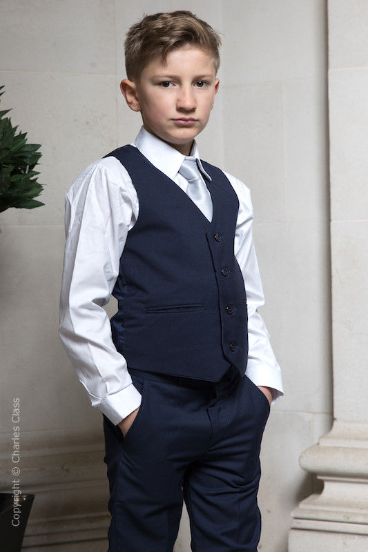 Boys Navy Trouser Suit with Silver Tie - Joseph