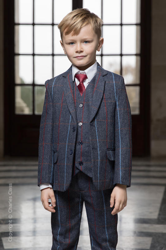 Boys Navy Tweed Check Jacket Suit - Clarence