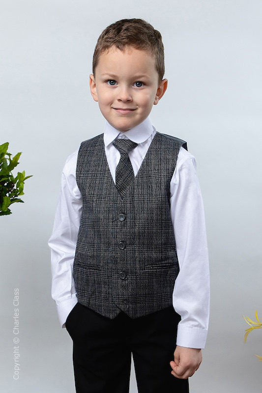 Boys Black Trouser Suit with Orange Check Tweed Waistcoat - Chester