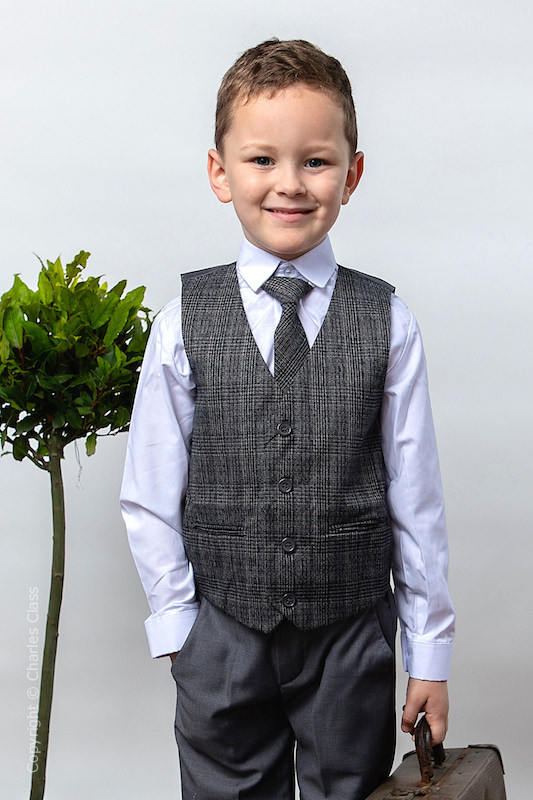 Boys Grey Trouser Suit with Orange Check Tweed Waistcoat - Charlie