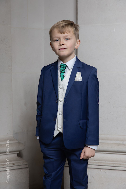 Boys Royal Blue & Ivory Suit with Bottle Green Cravat - Walter