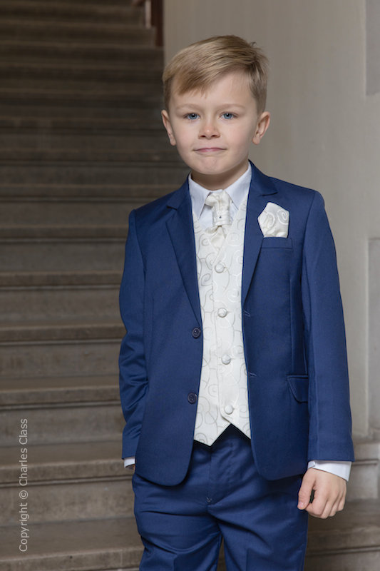 Boys Royal Blue & Ivory Scroll Jacket Suit - Walter