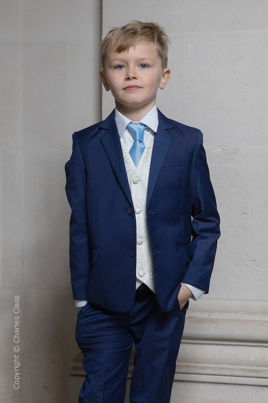 Boys Royal Blue & Ivory Suit with Sky Blue Tie - Walter
