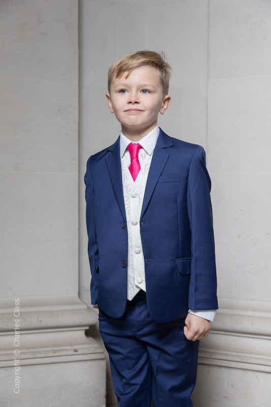 Boys Royal Blue & Ivory Suit with Hot Pink Tie - Walter