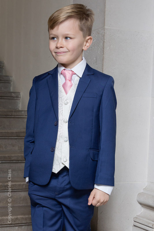Boys Royal Blue & Ivory Suit with Baby Pink Tie - Walter