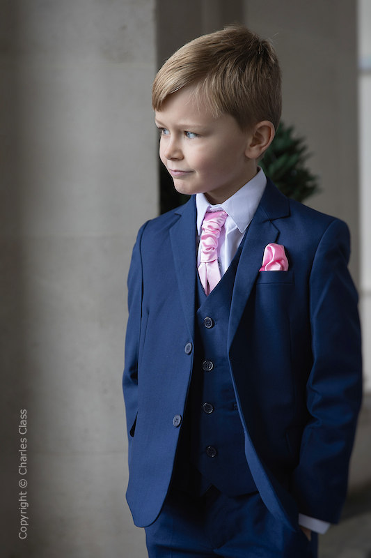 Boys Royal Blue Suit with Baby Pink Cravat Set - George