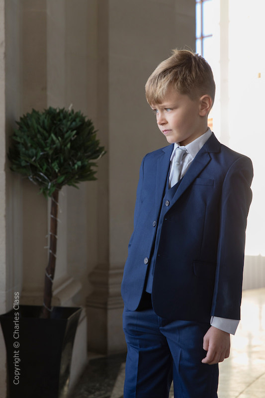 Boys Royal Blue Suit with Silver Tie - George
