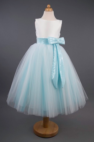 Busy B's Bridals Sequin Bow Coloured Tulle Dress - Kayla