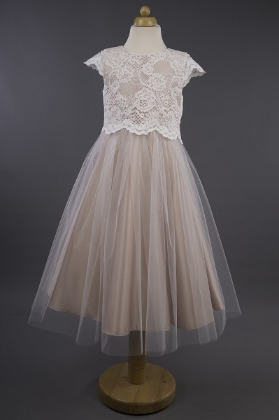 Busy B's Bridals Lace Bodice Coloured Satin Dress - Isla