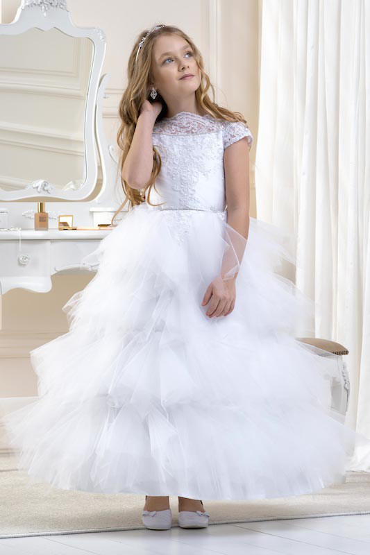 Lacey Bell White Extravagant Tiered Tulle Lace Dress - Style CD16