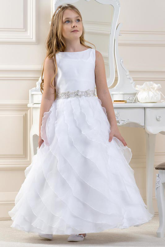 Lacey Bell White Ripple Skirt Silver Belt Organza Dress - Style CD17