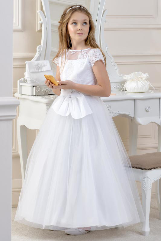 Lacey Bell White Large Bow Lace & Satin Dress - Style CD19