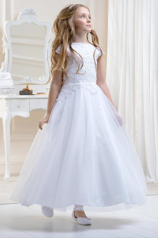 Lacey Bell White Appliqué Lace Tulle Dress - Style CD21