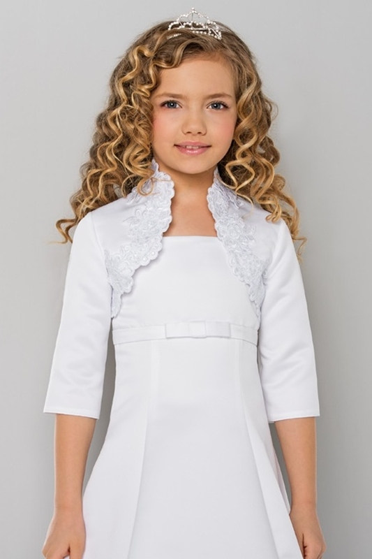 Lacey Bell Girls Lace & Satin High Neck Bolero - Style CJ171