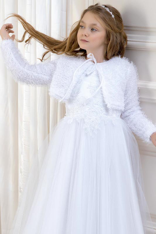 Lacey Bell Girls Fluffy Knitted Long Sleeve Bolero  - Style CJ36