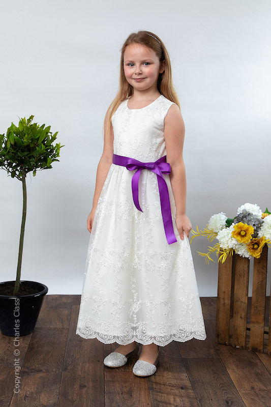 Girls Ivory Lace Dress & Cadbury Purple Satin Sash - Eva