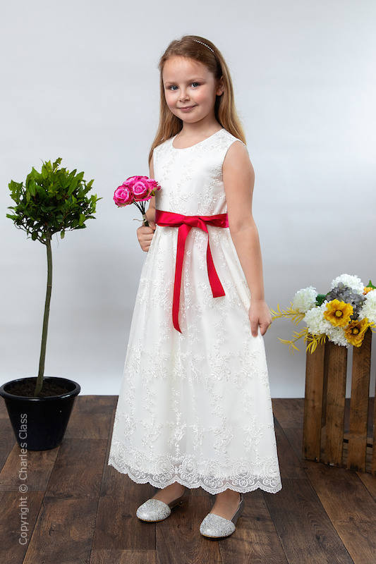 Girls Ivory Lace Dress & Fuchsia Pink Satin Sash - Eva