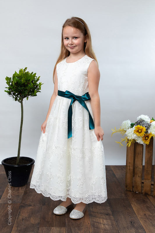 Girls Ivory Lace Dress & Petrol Satin Sash - Eva