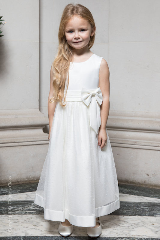 Girls Ivory Bow Flower Girl Dress - Sophia