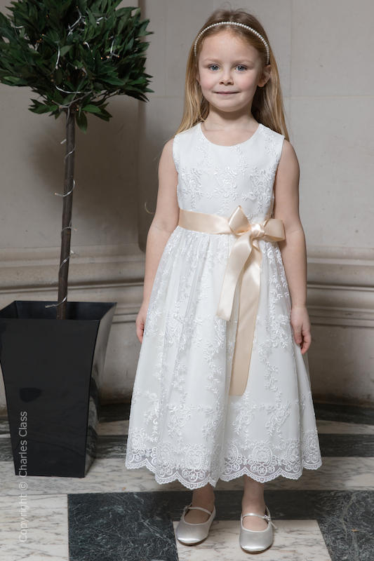 Girls Ivory Lace Dress & Champagne Satin Sash - Eva