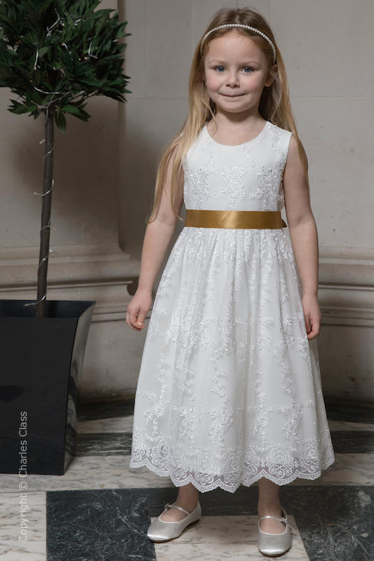 Girls Ivory Lace Dress & Gold Satin Sash - Eva