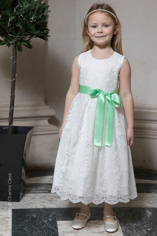 Girls Ivory Lace Dress & Mint Green Satin Sash - Eva