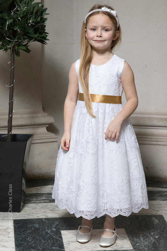 Girls White Lace Dress & Gold Satin Sash - Eva